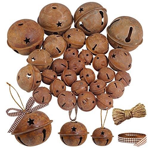 Winlyn 28 Pack Rusty Jingle Bells with Star Cutouts Christmas Sleigh Bells Rustic Metal Craft Bells Star Bells with Jute Rope Ribbon for Holiday Season Primitive Country Décor 3 Sizes 1.6' 2.4' 3.5'