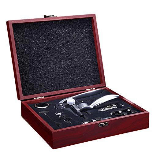 Phoetya Juego de abrebotellas de vino de acero inoxidable, accesorios de sacacorchos de vino, kit abrebotellas de vino, juego de regalo con estuche de madera