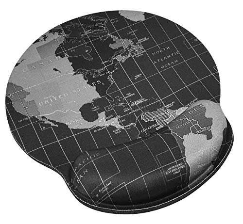 Mouse Pad with Wrist Rest Support Protect Your Wrists, Ergonomic Mouse Pad Confortable Memory Foam Wrist Rest Non-Slip Rubber Base Desk Pad for Computer Laptop Mac, Gaming, Office, Travel(World Map)