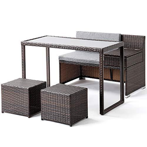 ガーデンファニチャー 4点セット ラタン調 ガーデンテーブル ガーデンチェアー 樹脂 ねじなし 高級 (小型-ベージュ)
