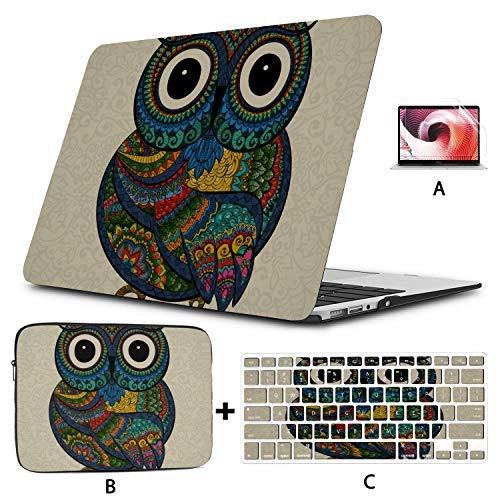 Fundas para portátiles Dibujos Animados Hermoso búho Indio Animal Macbook Estuche de 13 Pulgadas Carcasa Dura Mac Air 11'/ 13' Pro 13'/ 15' / 16'con Funda para portátil para Macbook Versión 2008-2