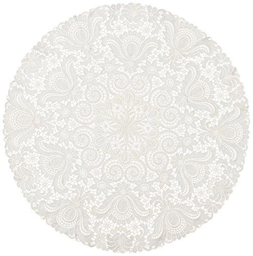 Plauener Spitze by Modespitze 67952 Centrino in pizzo, Design Plauen, colore panna, Cotone, Beige, 75 cm, rotondo