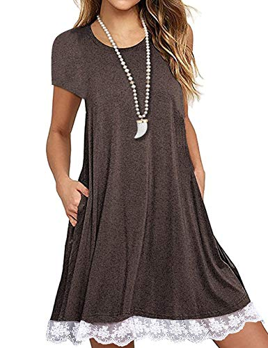 Women's Plus Size Short Sleeve Lace Patchwork Tshirt Summer Dress with Pockets Coffee,XXL