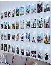 Litogo Led-fotoclips, lichtketting voor kamerdecoratie, 10 m, 100 leds, lichtketting met 60 klemmen voor foto's, lichtketting, muur, op batterijen werkende lichtketting, afbeeldingen voor woonkamer