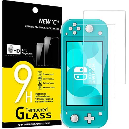 NEW'C 2 Pezzi, Vetro Temperato per Nintendo Switch lite, Pellicola Prottetiva Anti Graffio, Anti-Impronte, Senza Bolle, Durezza 9H, 0,33mm Ultra Trasparente, Ultra Resistente
