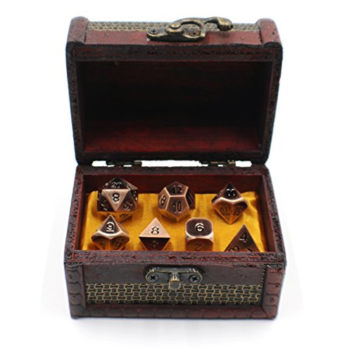 Metal D20 Dice Set with Storage Box / Chest for Roleplaying Games