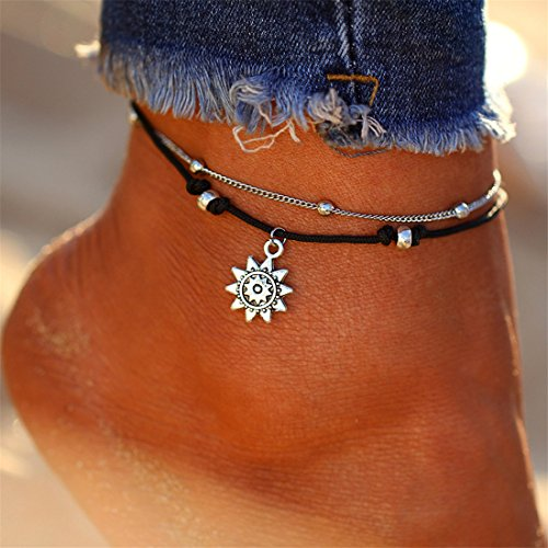 Yesiidor Double Layer Anklet With Engraved Solar Pendant Bohemian Stylish Beach Sandal Barefoot Anklet Bracelet Foot Jewelry