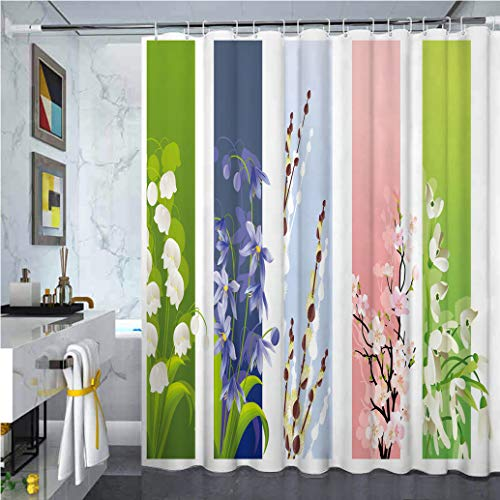 Flower Print Shower Curtain, Spring Flowers on Different Backgrounds Lily Blossoms Valley Primrose Floral Print Fabric Bathroom Decor Sets for Hotel Bathroom, 55' W x 84' L