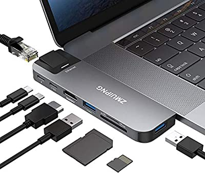 USB C Adapter for MacBook Pro Air 2020/2019/2018,MacBook Pro Adapters HDMI Multiport Dongle with 4K HDMI, USB 3.0&USB 2.0 Port, Ethernet,SD/Micro SD Card Reader, Thunderbolt 3 and USB C 100W PD