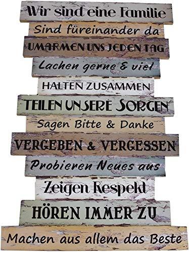 ZALA Plankenschild - Familienregeln Lebenseinstellung Pastell Gehe deinen eigenen Weg Wandbild Wegweiser Wanddeko Dekoration Trend