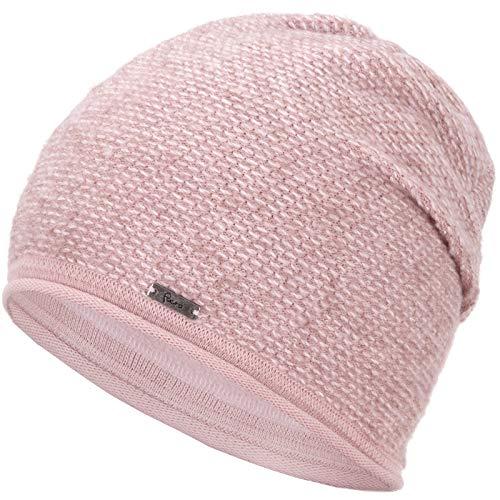 Faera Wintermütze warm gefütterte Winter-Mütze Fleece-Futter Winter Strick-Mütze Beanie-Mütze Damen Herren One-Size, Farbe:Rose