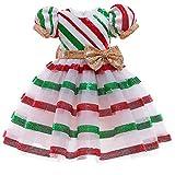 Vestito natalizio per bambine, da principessa, con paillettes, abito elegante di Natale, per compleanno, trenino di Carnevale, festa, abito da sera vintage lungo al ginocchio Babbo Natale 4-5 Anni