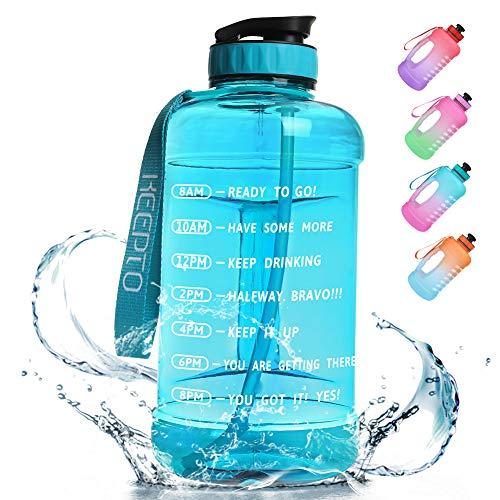 KEEPTO Botella de agua de 2,2 L con pajita, botella de agua motivadora con rastreador de tiempo, sin BPA para gimnasio, fitness, actividades al aire libre, 04M05