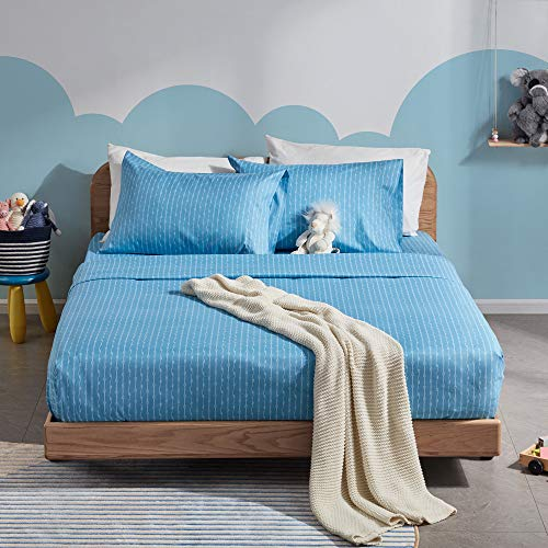 SLEEP ZONE Ultra Soft Kids Printed Twin Size Sheet Set 3-Piece - Wrinkle & Fade Resistant Double Brushed Microfiber Sheets Set with Pillowcase (Twin, Coastal Rope Blue)