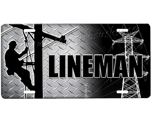 onestopairbrushshop Lineman License Plate