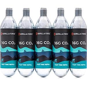 Gorilla Force Premium CO2 Cartridges (16g Threaded) for Bike Tire Inflators