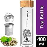 amapodo Teeflasche mit Sieb - Tee Flasche Glas to go - Tea Bottle 400ml (Bambus)