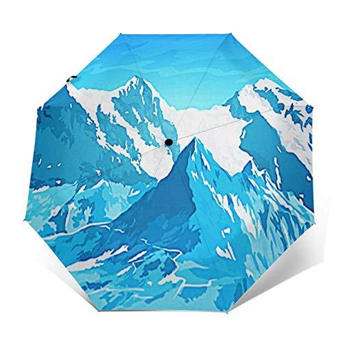 Regenschirm Taschenschirm Kompakter Falt-Regenschirm, Winddichter, Auf-Zu-Automatik, Verstärktes Dach, Ergonomischer Griff, Schirm-Tasche, Hohe Berge