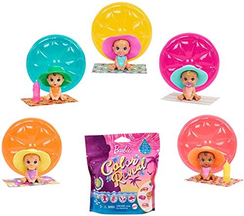 Barbie Bebés Color Reveal Arena y Sol, muñeco sorpresa con sombrero y accesorios de juguete (Mattel GTT12)