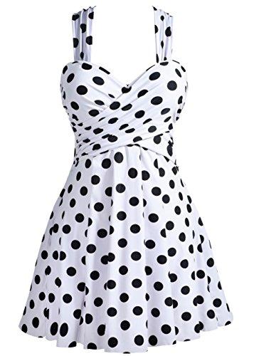 COCOPEAR Women's Elegant Crossover One Piece Swimdress Floral Skirted Swimsuit(FBA) Polka Dot White XL/10-12