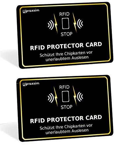 praxxim 2er Set RFID Blocker Karte schwarz/Gold - Störsender bietet RFID Schutz gegen das Auslesen von Kreditkarten - Jede RFID Karte sichert eine ganze Geldbörse - Ideale Alternative zu Kartenhüllen