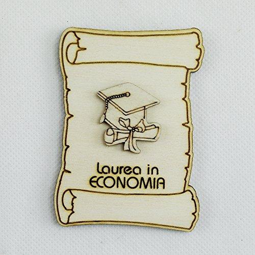 DLM26528-tocco e Pergamena (Kit 12 Pezzi) Calamita Magnete Pergamena in Legno Laurea in Economia_Tocco e Pergamena bomboniera
