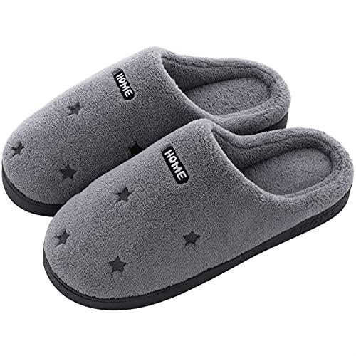 FJZFXKZL Pantuflas Mujer Invierno, Zapatillas de Interior Señoras Zapatos de Invierno de Felpa cálida Mujeres Hombres Slipper Soft Sole Plush House Slip Slips Plus Tamaño