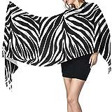 Yuanmeiju Women's Stylish Warm Tassels Bufanda Animal Print Zebra Ornament Soft Winter Large Blanket Wrap Shawl