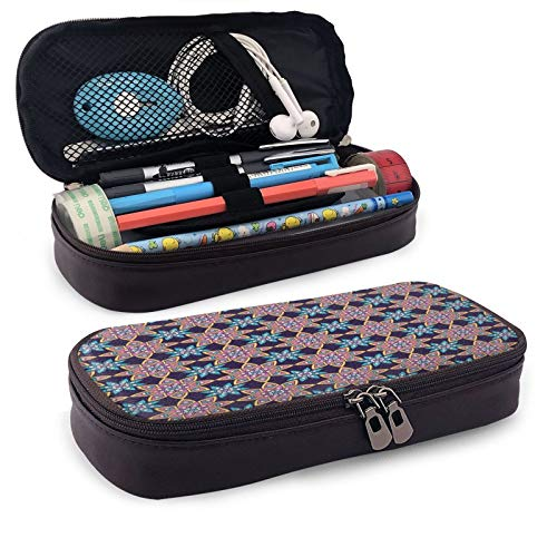 Ethnic Ornament Flower Large Capacity Leather Pencil Case Student Stationery Box Storage Bag