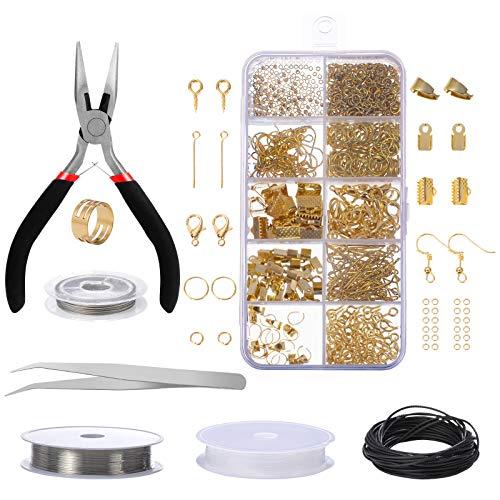 Jewelry Making Kit, Comius Sharp Joyería Herramientas de Reparación de Joyas para Hacer y Reparar Collares y Pulseras y Pendientes Accesorios (Gold)