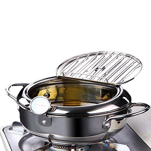 Edelstahl-Fritteuse, Tempura Edelstahl-Kochgeschirr mit Thermometer und Deckel, Antihaft-Friteuse, japanische Fritteuse für Küche Kochen