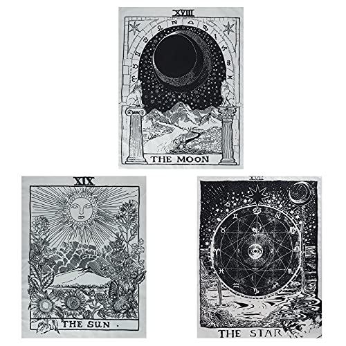 3 Stuks Tarot Wandtapijt,de Maan de Ster de Zon Tarot tapijt,Tarot Tapestry,Middeleeuwse Europa Waarzeggerij Wandtapijt…