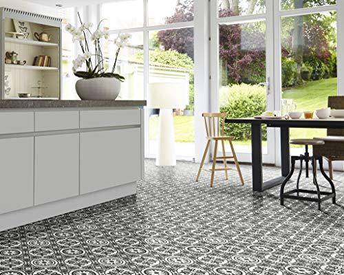 PVC Bodenbelag im Retrolook, grauweiß (9,95€/m²), kleines Muster