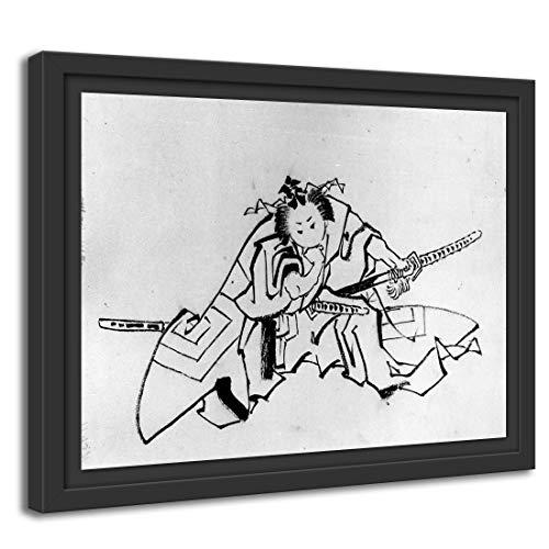 Printed Paintings Marco Americano (80x60cm): Escuela de Katsushika Hokusai - El Actor Danjuro como Shibaraku