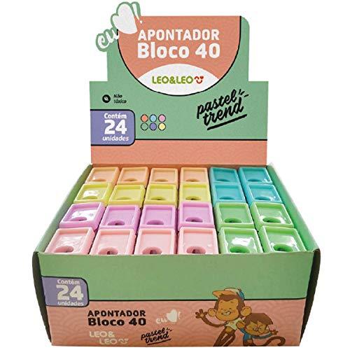 Apontador Com Deposito Bloco 4cm 6 cores Pastel - Caixa com 24 Unidade(s), Leonora, 73001, Multicor