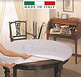 GBiancheria Mollettone COPRITAVOLO SALVATAVOLO Bianco Rettangolare Rotondo Ovale Made in Italy (Ovale 140x180)