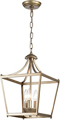 Home Accessories HARL8243LBR Sunsus Oil Brushed Silver 3-Light Lantern Pendant, Brown