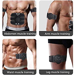 UMATE ABS Stimulator,Ab Stimulator, Abdominal Trainers, Portable Workout Equipment,Body Fitness Muscle Stimulator 6 Modes & 10 Levels Simple Operation for Abdomen/Arm/Leg Training Men and Women