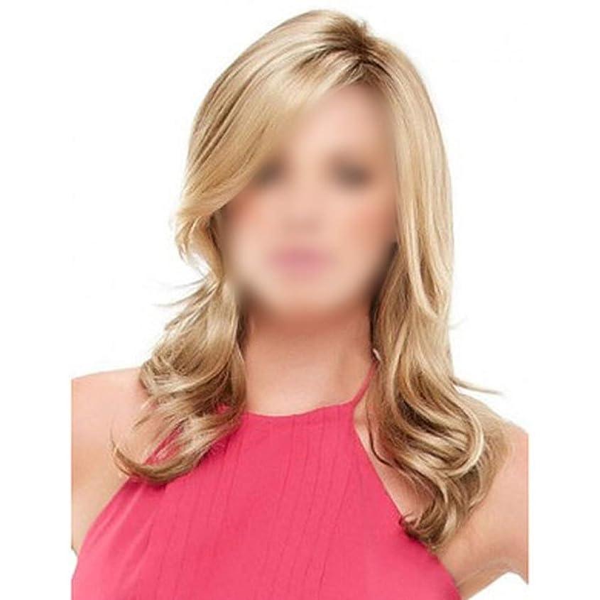 聖書スピンリビングルームYESONEEP 女性の毎日のドレスのための斜め前髪付きの長い波状の巻き毛のかつら耐熱ファイバーパーティーウィッグ (色 : Blonde, サイズ : 70cm)