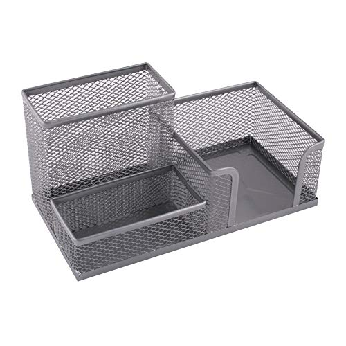 Leviatan Organizador de escritorio | Portalápices organizador de mesa de metal | Bandeja de oficina con soporte de malla | 205 x 103 x 98 mm plateado