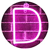 Obrecis Light Up Letters Neon Signs, Pink Marquee Letter Lights Wall Decor for Christmas, Birthday Party, Bar Valentine's Day Words-Pink Letter D