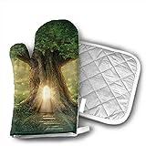 Wfispiy Fairy Tree of Life Manoplas para Horno de Cocina, Manoplas y Porta ollas Ligeras, Resistentes al Calor con Forro de algodón Acolchado, para cocinar, Hornear, Asar a la Parrilla, B