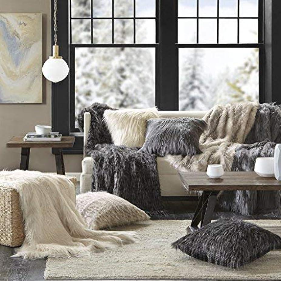 好色な韓国しなやかなJLA Home Inc. Edina Faux Fur Premium Modern Down Throw Pillow, Contemporary Animal Square Decorative Pillow, 20