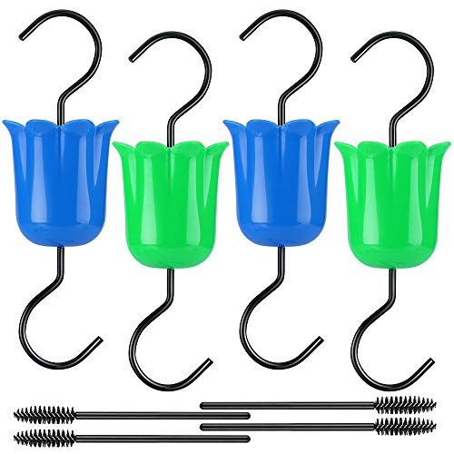 HAPYTHDA Ant Moat for Hummingbird Feeders Accessory Hooks for Outdoors, Oriole Bird Feeder Parts for Outdoors Hanging, 4 Ant Guards, 4 Brushes