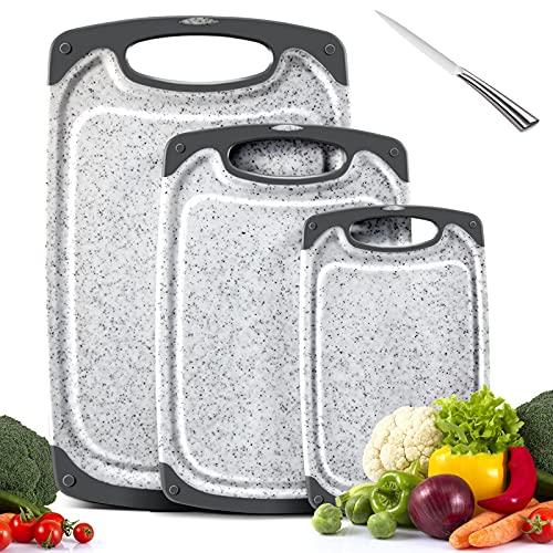 MASTERTOP Juego 3 Tablas de Cortar Grandes de Plástico Grueso con Ranura para Jugos y Tablas de Cocina con Mango Sin BPA para Hogar, Alimentos, Carne y Verduras
