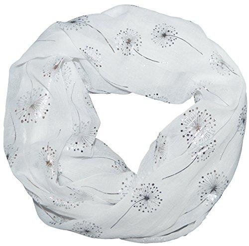 thb Richter Loopschal Rundschal mit Pusteblume Muster Schlauchschal Schals Halstuch Loop Natur Pusteblumen Baumwolle Blumen (Weiß)