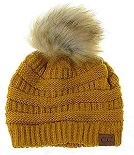 BYSUMMER Soft Warm Cable Knit Faux Fur Pom Pom Winter Skull Cap