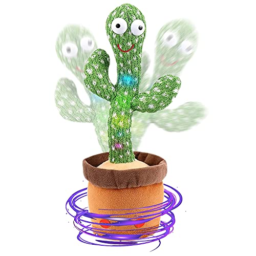 WISMAT Dancing Cactus Toy - 120 Songs Singing, Talking, Record & Repeating What You say Electric Cactus, Wiggle Mimicking Parrot Sunny Cactus Plush Toy, LED Light for Home Decor & Babies Interaction