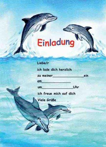 Delfine Delphine Einladungen Geburtstag Kindergeburtstags-Einladungen 12er-Set