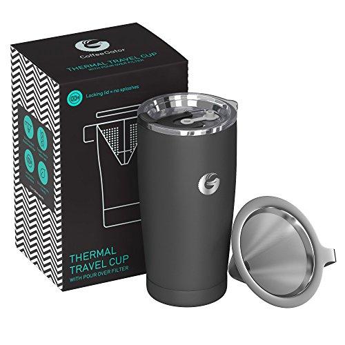 Coffee Gator Pour Over Kaffeebereiter – All-in-One Thermo-Kaffeebecher für unterwegs und Handtropf-Kaffeemaschine – Vakuumisolierter Edelstahl mit papierlosem Filter - 585ml - Grau